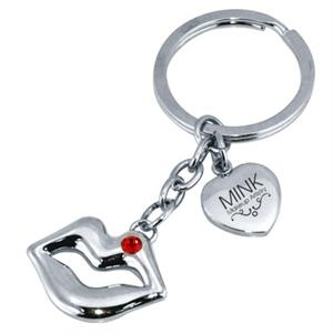 Metal Lips Shaped Keychain