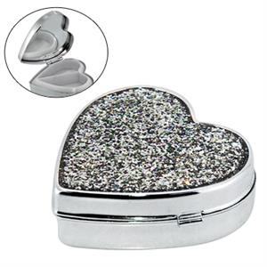 Heart Shape Metal Pill Box With Mirror And Glitter Cover