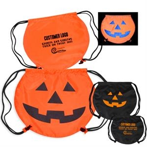 Partytime (tm) - Round Cinch Bag With Jack O Lantern Stock Art In Reflective Ink