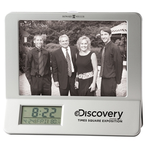 Newton - Satin Silver And Black Tabletop Clock With Lcd Display And Photo Frame