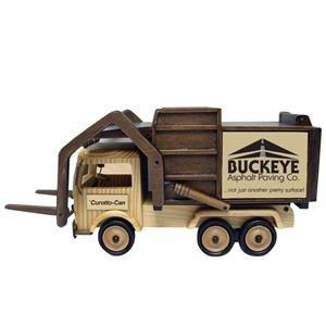 "15"" L X 5 3/4"" W X 7 1/4"" H, Hand-made Wooden Garbage Truck With Forks"