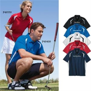 2 X L - Ladies' Color Block Polo Shirt With Double Moisture Wicking Baby Eyelet Pique