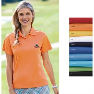 X S- X L - Ladies' Pique Polo Shirt With Double Moisture Wicking Solid Eyelet Pique