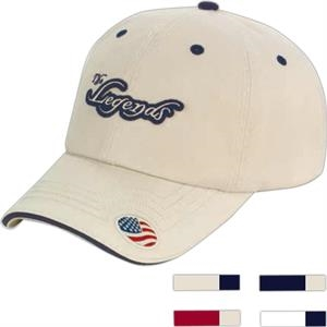 Unstructured Washed Twill Cap With Sandwich Bill And Flag Visor Applique