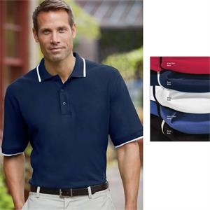 Classics - 2 X L - Men's Essential Ringspun Pique Polo Shirt With Knit Tipped Collar And Cuffs