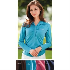 Classics -  X S- X L - Ladies' Long-sleeve Pima Stretch Jersey Shirt With Ruching