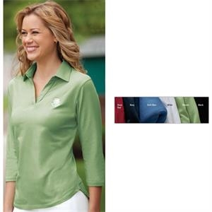 Classics -  X S- X L - Ladies' Three-quarter Sleeve Pima Stretch Jersey With Bound Buttonless Placket