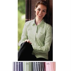 Classics - 3 X L - Ladies' Reverse Banker's Stripe Pima Poplin Shirt With Shirttail Hem