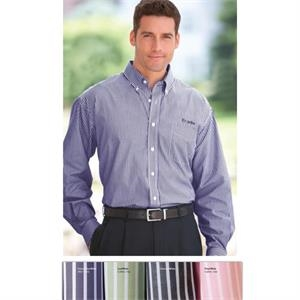 Classics - S- X L - Men's Reverse Banker's Stripe Pima Poplin Shirt With 7-button Full Front