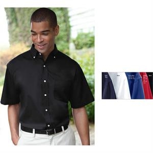 Classics - 3 X L - Men's Short Sleeve Easy Care Woven Twill Shirt With Classic 7-button Placket