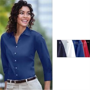 Classics - S- X L - Ladies' Three-quarter-sleeve Woven Twill Shirt With 6-button Full Front