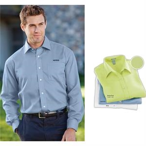 Classics - S- X L - Men's Textured Broadcloth Shirt With Full, 7-button Fused Front Placket