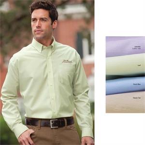 Classics - S- X L - Men's Feather Stripe Broadcloth Shirt With Wrinkle-resistant Finish