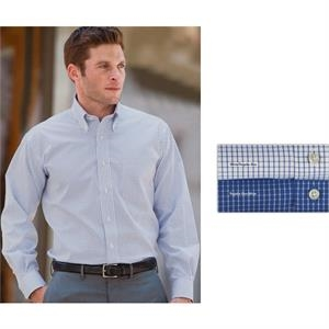 "Freedom (r) - 2 X L - Neck Size 18"" - 18.5"" - Men's Box Check Executive Pinpoint Oxford Shirt With 37"" Sleeve Length"