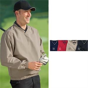 2 X L - Wind And Water Resistant Microfiber Windshirt With Crossover V-neck Knit Collar
