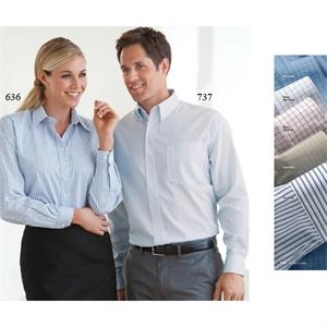 2 X L - Ladies' Easy Care Stripe Poplin Shirt With 2-button Adjustable Cuff