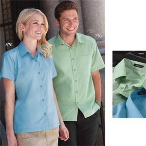 S- X L - Men's Camp Shirt With Tailored, 2-piece, Spread Collar With Band