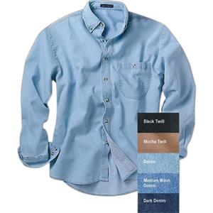 S- X L Colors - Long Sleeve Denim And Twill Shirts With 3-button Cuff