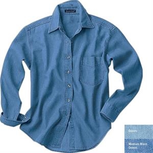S- X L - Ladies' Long-sleeve Denim Shirt With Spread Collar