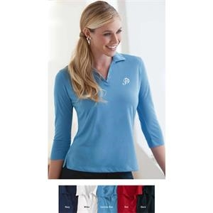 S- X L - Ladies' Three-quarter Sleeve Jersey Shirt With Self-fabric Collar