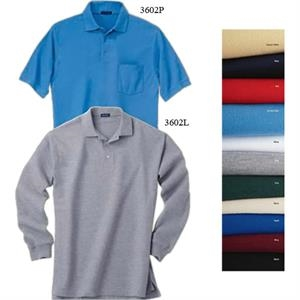3 X L - Men's Easy Care Long-sleeve Polo Shirt With Rib Knit Cuffs And 3-button Placket
