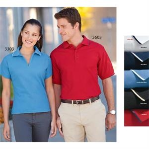 2 X L - Men's Easy Care Tipped Pique Polo Shirt With 3 Button, Clean Finish Placket