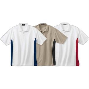 S- X L - Men's Contrast Athletic Polo Shirt With Set-in Hemmed Sleeves