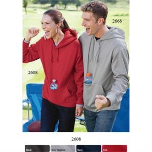 Sips (tm) - 2 X L - Sueded Hooded Sweatshirt With Hidden, Insulated Front Pouch