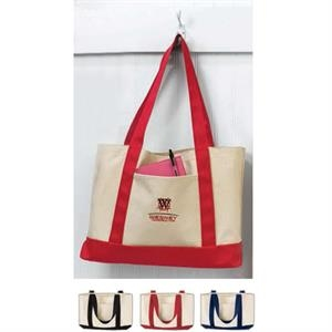 "Tote Bag With Contrast Self-fabric 22"" Handles"