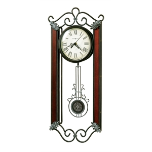 Carmen - Wrought-iron Wall Clock With Cast Decorative Corner Ornaments Finished In Warm Gray