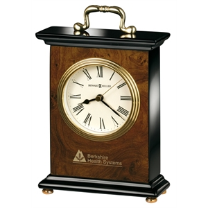 Berkley - Bracket Style Table Clock Features A Polished Brass Handle And Black Roman Numerals