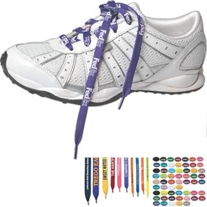 "Printed 3/8"" Width, 36"" Long, White Biodegradable Shoelaces"