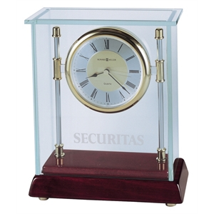 "Kensington - Desk Clock With Polished Chrome Pillars, Rosewood Base And 3/16"" Thick Glass Case"