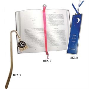 "Enameled 5"" - Custom Die Struck Brass Bookmark With Enamel"