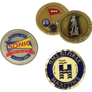 1.8 Mm - Die Struck 2-tone Brass Coin With Sandblasted Recessed Areas, 2-d