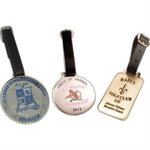 "2 1/2"" - Die Struck Steel Bag Tag With Genuine Leather Strap"