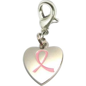 Breast Cancer Awareness Heart Charm