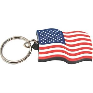 Soft Rubber American Flag Shaped Key Tag