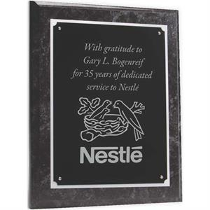 Wood Plaque with Black Marble Finish