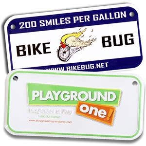 "Custom Embossed Aluminum Bicycle, Plate With Two Holes, 3""x6"""