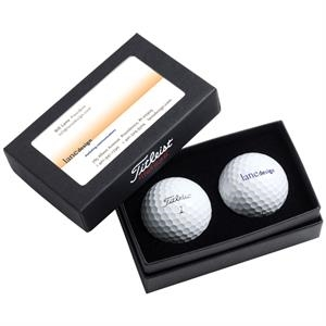 Dt (r) Solo Titleist (r) - Sale 5-10 Day Production - Two Ball Business Card Box With Two Logoed Golf Balls