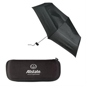 "Sale 5-7 Day Production - Folding Umbrella Has 43"" Arc & Compact Size With Case"