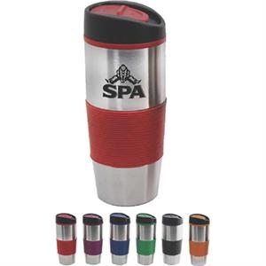 16 oz Insulated Tumbler with Colored Silicone Sleeve