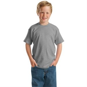Hanes (r) Comfortblend (r) Ecosmart (r) - White - Youth Size 50/50 Cotton/polyester T-shirt With Taped Neck