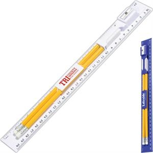 Writing Ruler Kit With 2 Pencils, Eraser And Pencil Sharpener