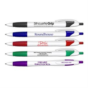 Silhouette Grip(tm) - Retractable Ballpoint Pen With Rubber Grip, 5 3/4""