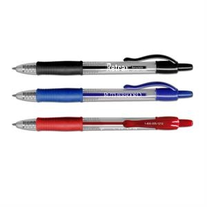 Retrax (r) - Gel Pen With Clear Barrel, Rubber Grip And Retractable Point