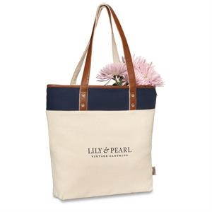 Heritage Supply (tm) Taylor - Navy - Cotton Fashion Tote Bag With Stylish Grommet Details