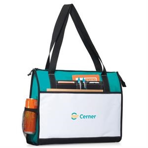 Merit - Turquoise - Business Tote Bag With Oversized, Zippered Main Compartment