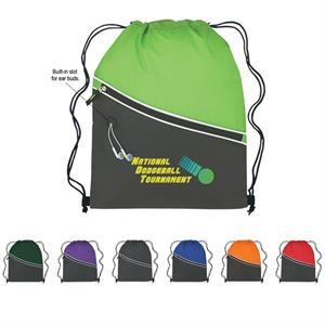 Two-tone Sports Pack With Drawstring Closure And Large Front Zippered Pocket